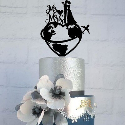 Travel world map Wedding cake topper with Mr & Mrs, world map cake topper