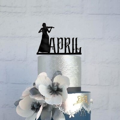 Personalized Female Violin Birthday Cake Topper