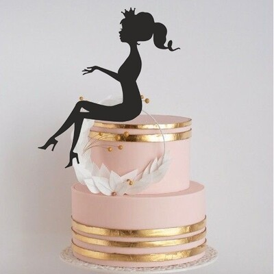 Digital file Elegant Lady Silhouette Cake Topper High Heels Acrylic Cake Toppers Wedding Birthday Bridal Shower Queen Party Cake Decoration Sign