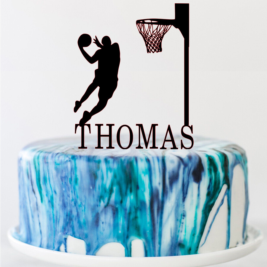 Custom Basketball Theme Name Acrylic Birthday Cake Topper Sports Style Personalized  Name Party Cake Toppers Decoration