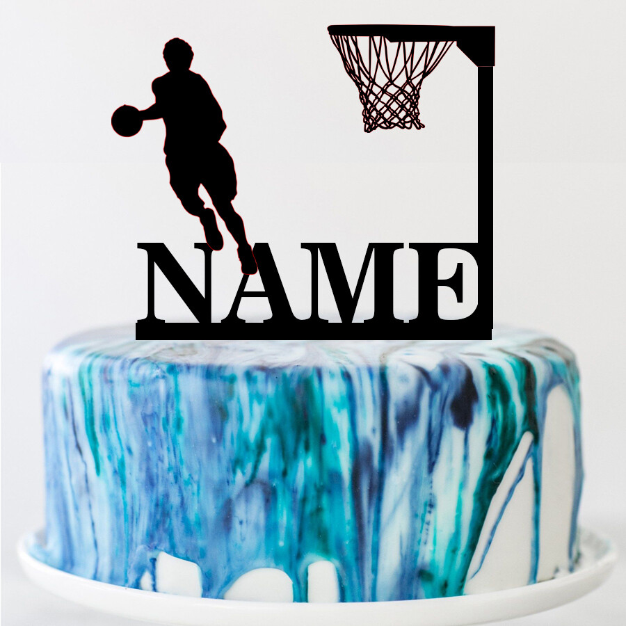 A digital file basketball Theme Name Acrylic Birthday Cake Topper Sports Style Personalized Party Cake Toppers Decoration