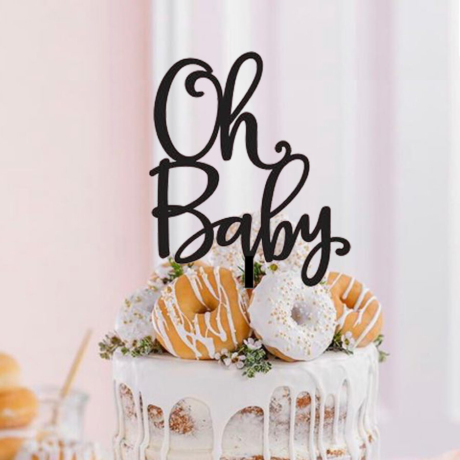 A digital file oh baby cake topper - Reveal cake topper