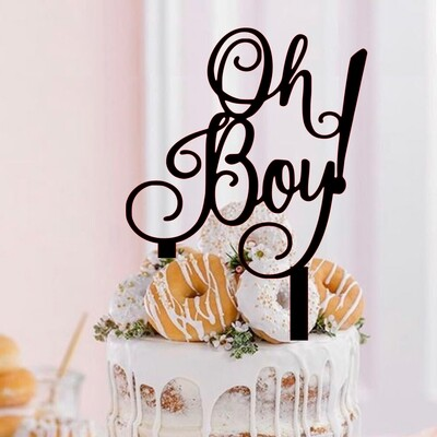 A digital file oh boy! cake topper - Reveal cake topper