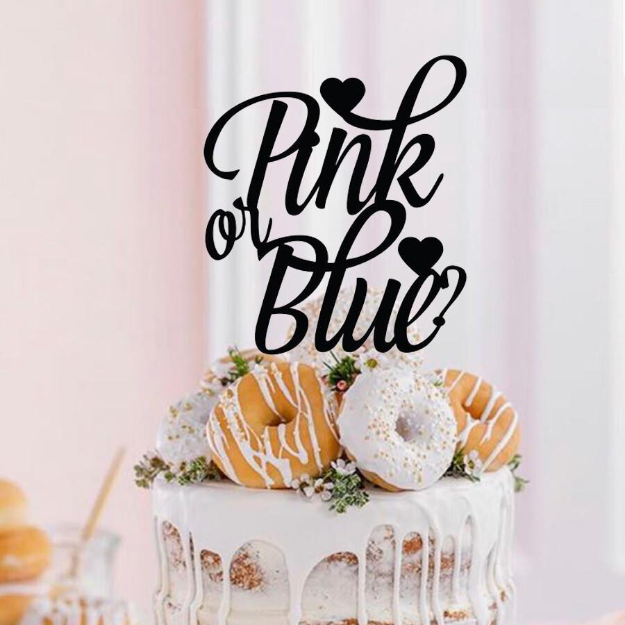 A digital file Pink or Blue Cake topper - Reveal cake topper