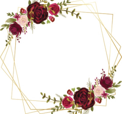 Dark Red Romantic Burgundy Flower Cluster Illustration Elements