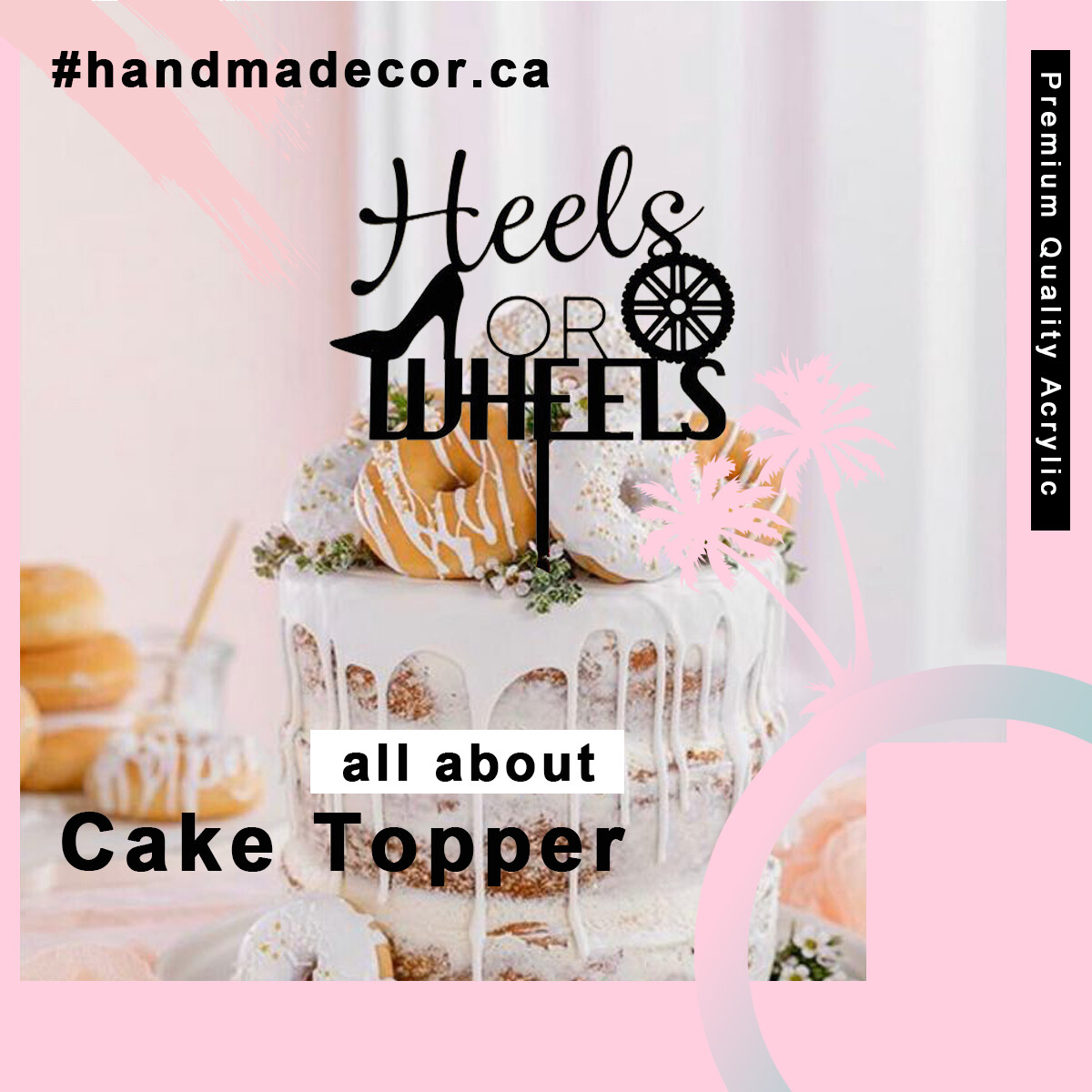 Gender Reveal Cake Topper - Heels or Wheels Cake Topper