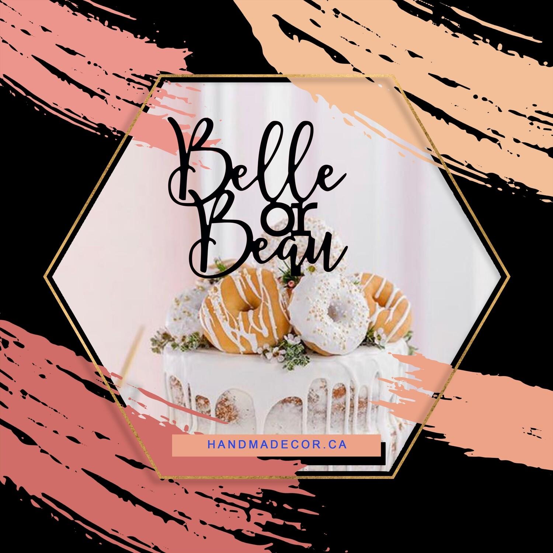 Belle or Beans Cake Topper - Gender Reveal Cake Topper
