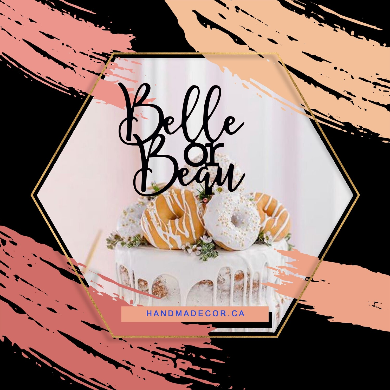 A digital file belle Or Bean cake topper - baby shower cake topper