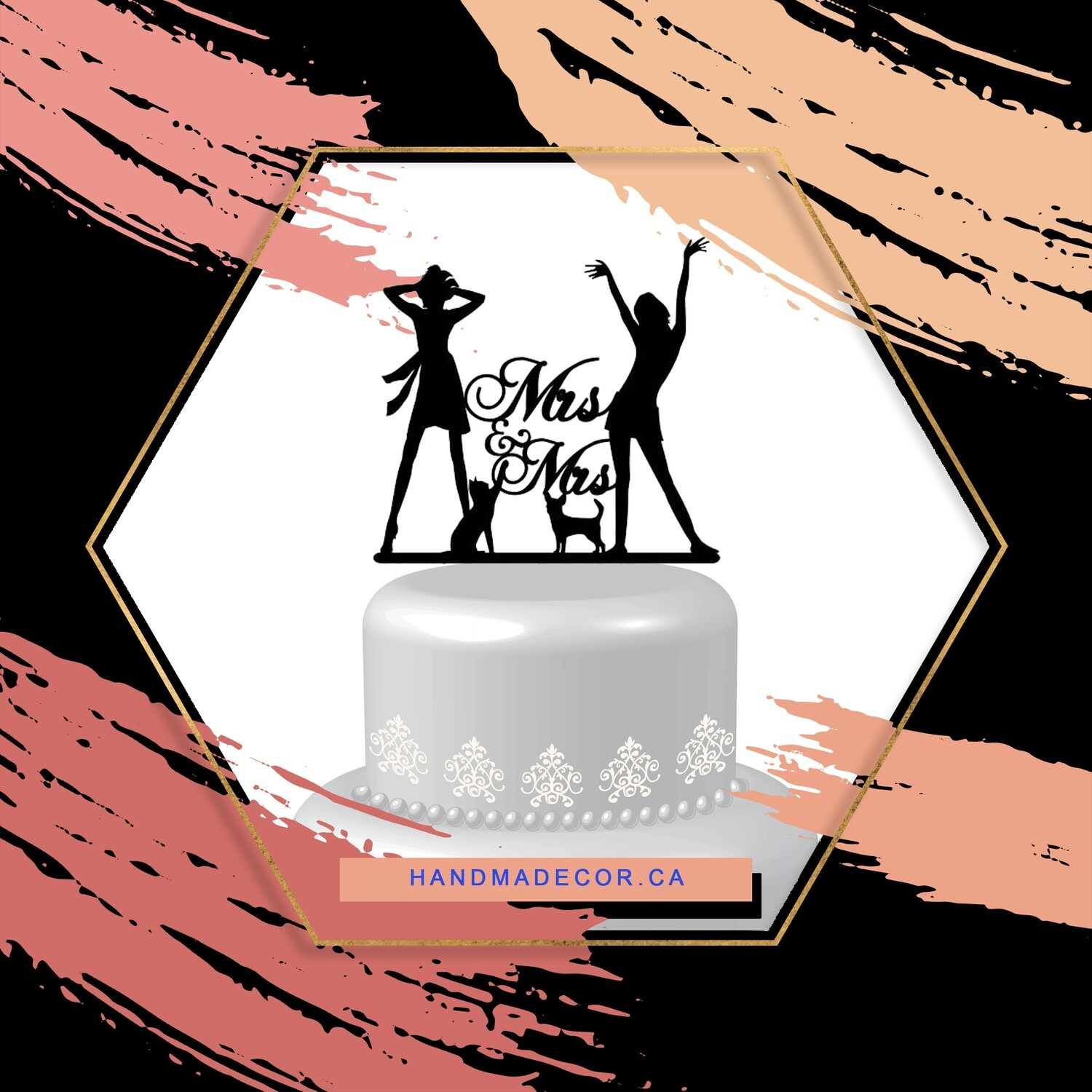Acrylic Lesbian Wedding Cake Toppers Mrs and Mrs 2 Brides Wedding Cake Toppers with Dog Cat Wedding Cake Decorations