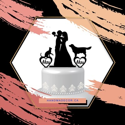 Acrylic Lesbian cake topper,lesbian with dog and cat,lesbian wedding cake topper,mrs and mrs cake topper with dog and cat,lesbian silhouette