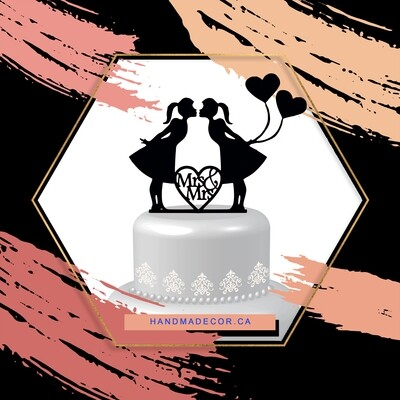 Acrylic Lesbian cake topper,lesbian wedding cake topper,mrs and mrs cake topper, lesbian silhouette, Same sex cake topper