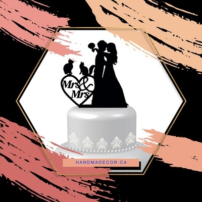 A digital file lesbian Wedding Cake topper with two cats Mrs and Mrs, same sex unique wedding cake topper funny, brides silhouette