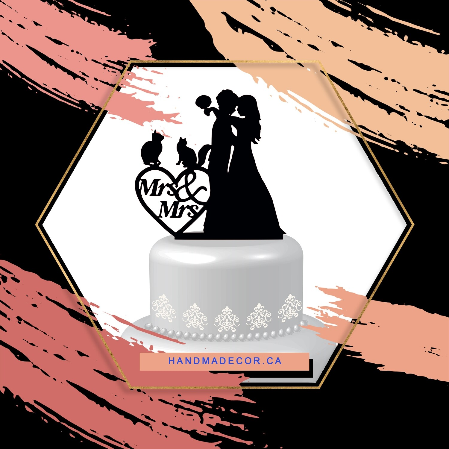 Acrylic Lesbian cake topper, lesbian Wedding Cake topper with two cats Mrs and Mrs, same sex unique wedding cake topper funny, brides silhouette