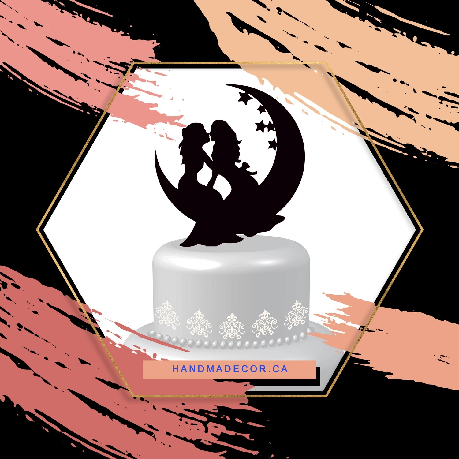 A digital file Lesbian cake topper, Cake Topper Moon and Star Homosexual Wedding Wood Cake Topper Mrs and Mrs Silhouette Wedding Cake Decorations Cake Topper Moon and Star Homosexual Wedding Cake Topp