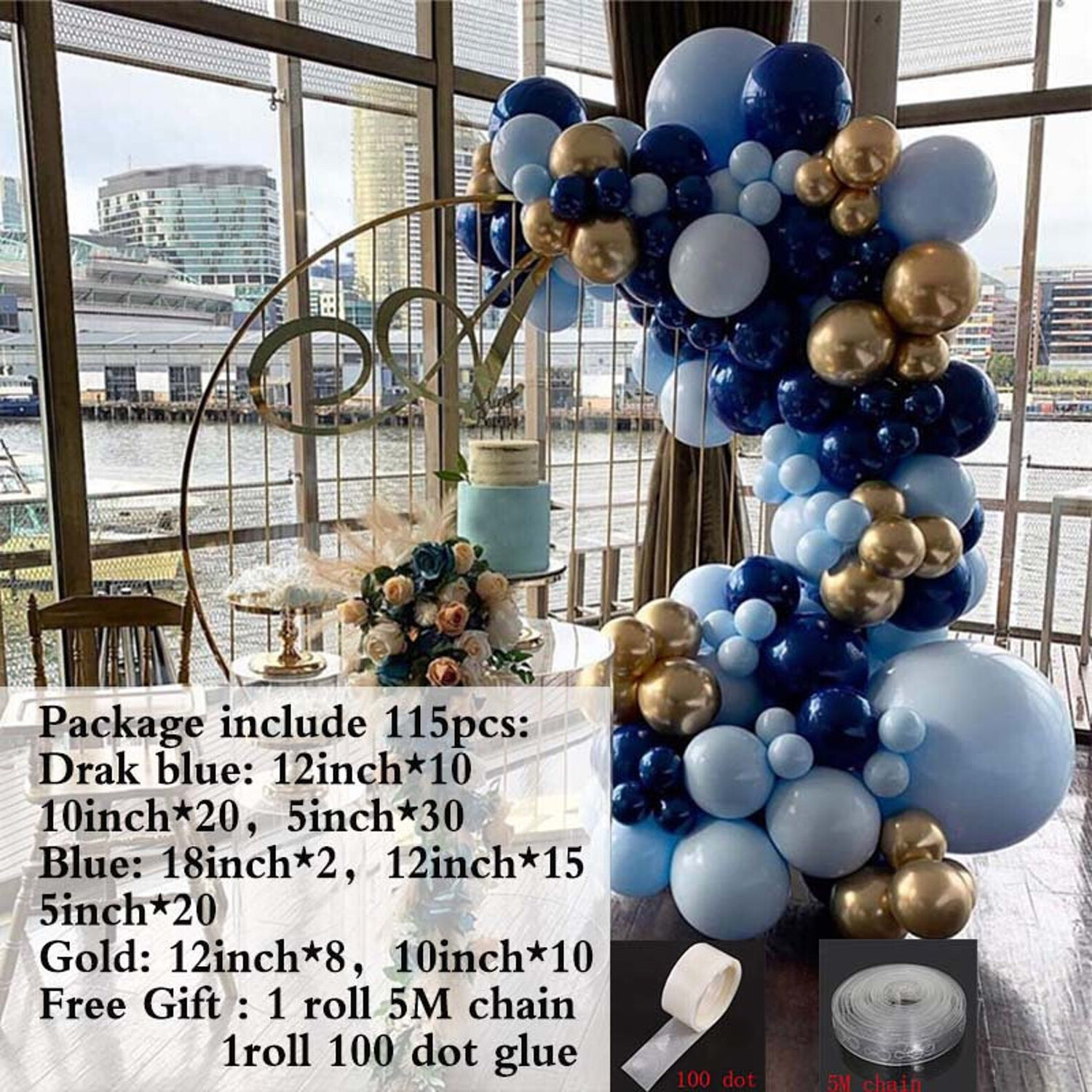 115pcs DIY Blue Balloons Garland Arch Kit Navy Blue Gold Balloon For Baby Shower Birthday Wedding Party Decoration Balloons Supplies