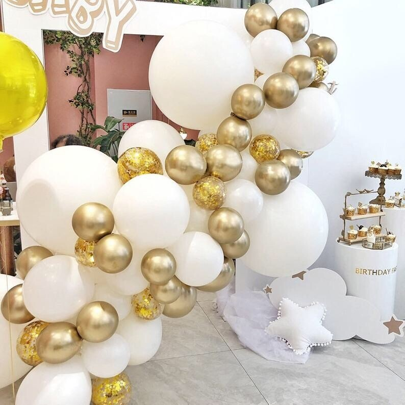 Chrome Gold White Balloons Garland 84pcs Metal Gold Balloon Confetti Globos Birthday Baby Shower Wedding Anniversary Party Decor