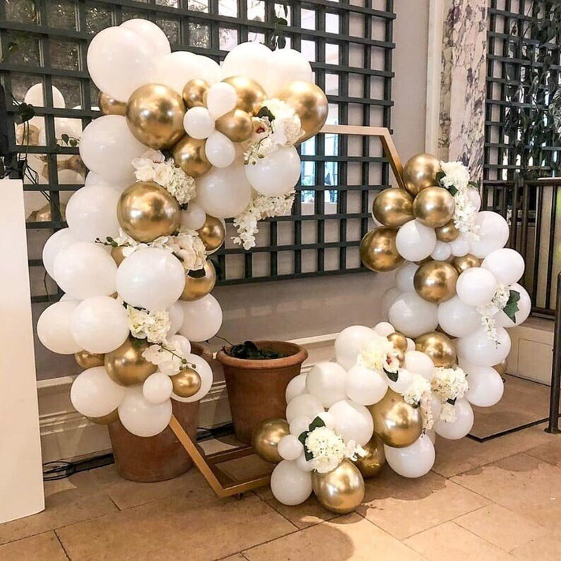 113pcs Macaron White Balloons Arch Kit Gold Chrome Balloon Garland For Wedding Baby Shower Ballon Decorations Party Supplies