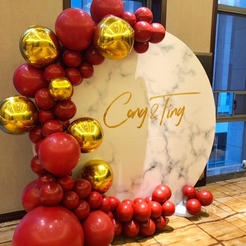 119pcs 10inch/18inch/36inch Ruby Red Metallic Chrome Gold Balloon Arch Garland Kit Wedding Birthday Baby Shower Party Decoration