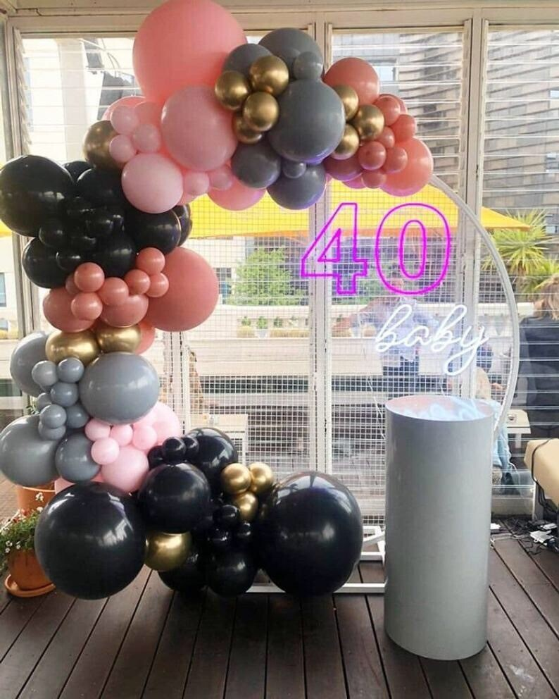 Global Pastel Retro Pink Balloon Garland Kit DIY Arch Black Gray Pink for Birthday Party Wedding Baby Shower Supplies Decoration