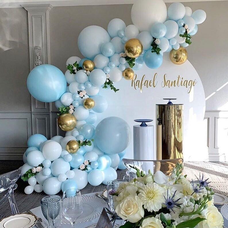 131pcs DIY Balloons Garland Arch Kit White Blue Gold Balloon for Birthday Wedding Baby Shower Decoration New Year Party Supplies