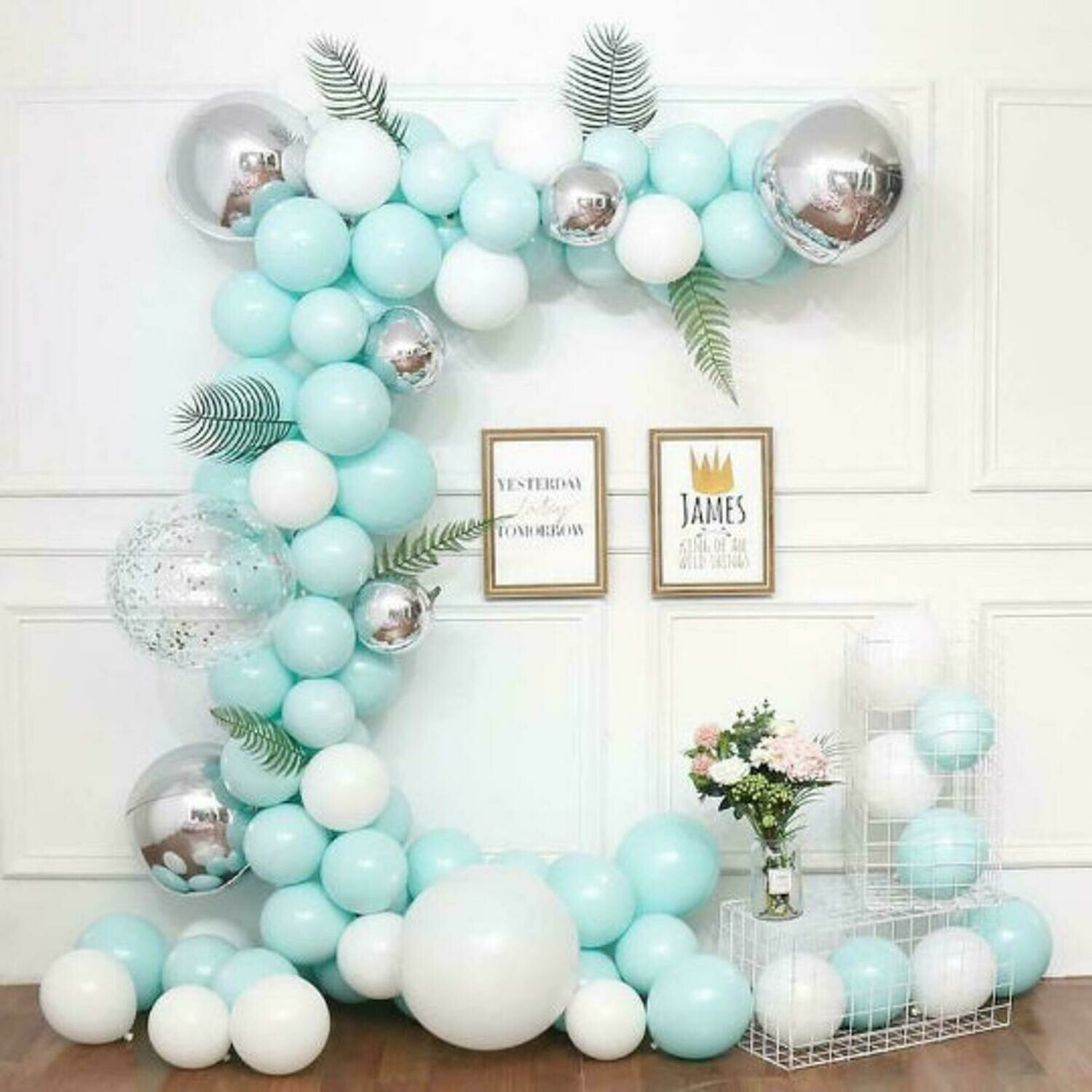 116pcs Macaron Garland Kit Balloon Chain Leaf White & Blue Latex Balloons for Wedding Birthday Anniversary Party Decorations