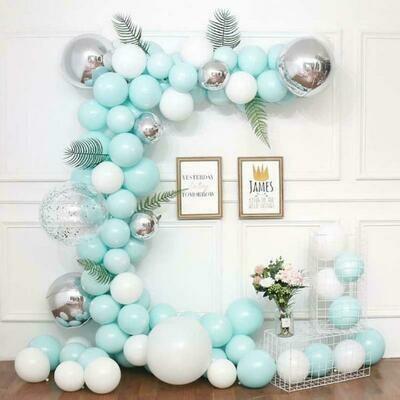 116pcs Macaron Garland Kit Balloon Chain Leaf White & Blue Latex Balloons for Wedding Birthday Anniversary Party Decorations