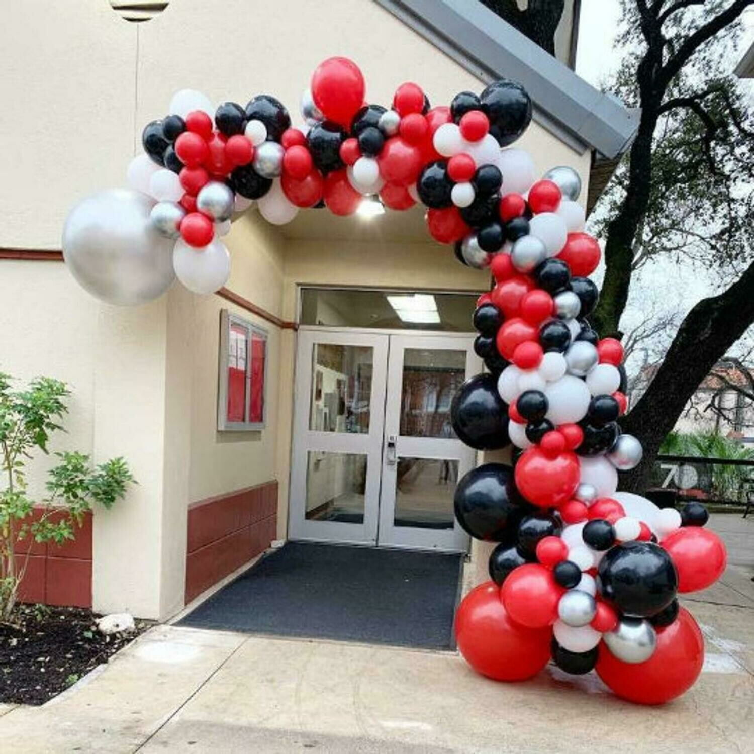 161 pcs DIY Red Black Balloon Garland Arch Kit Sliver White Balloon for Birthday Baby Shower Weddings Party Decoration