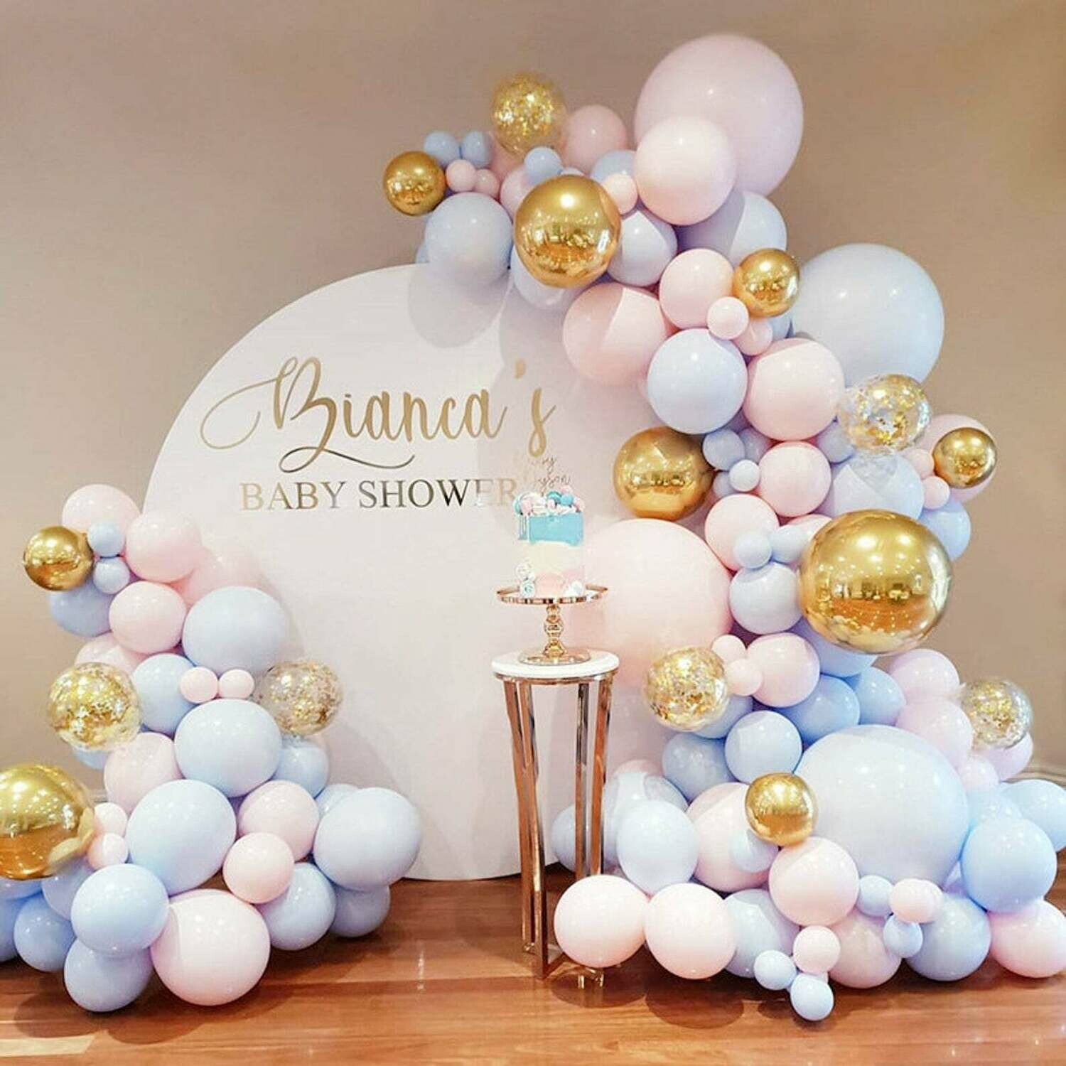 137pcs Macaron baby pink latex balloon garland blue 4D gold balloon arch for Wedding Backdrop Balloon Garland Kit baby shower balloon set