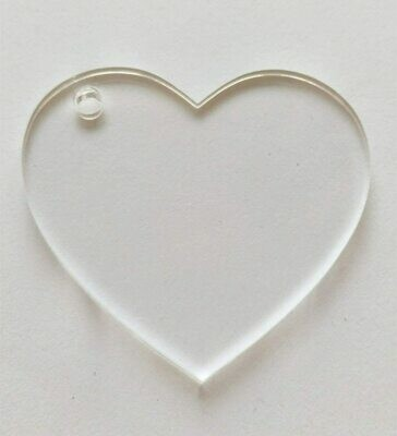 Laser Cut clear acrylic heart shape Blank  Smooth Edge Transparent Plexiglass Circles 1/8 inch (3 mm) with or without Holes DIY Crafts