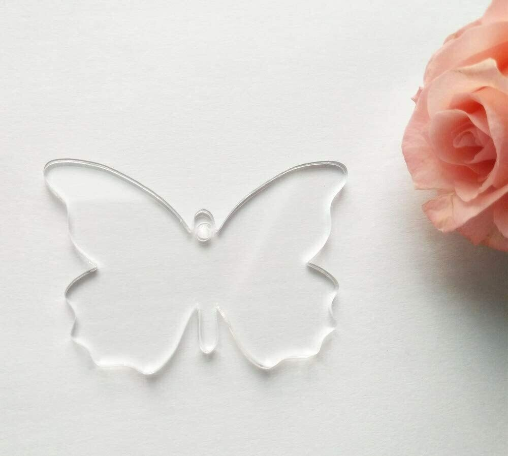 100 Laser Cut clear acrylic Butterfly shape Blank  Smooth Edge Transparent Plexiglass Circles 1/8 inch (3 mm) with or without Holes DIY Crafts