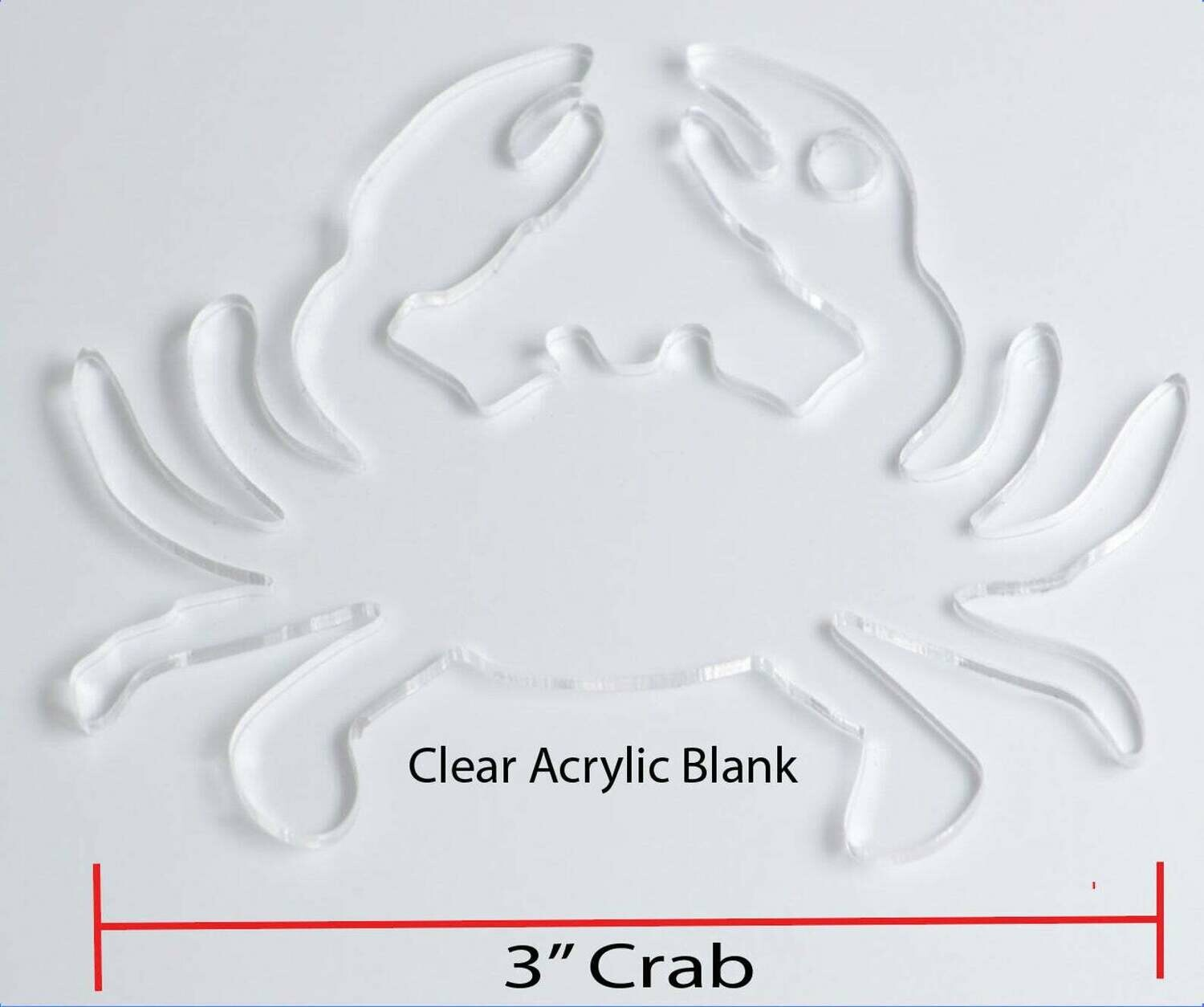 100 Laser Cut clear acrylic Crab shape  Blank  Smooth Edge Transparent Plexiglass Circles 1/8 inch (3 mm) with or without Holes DIY Crafts