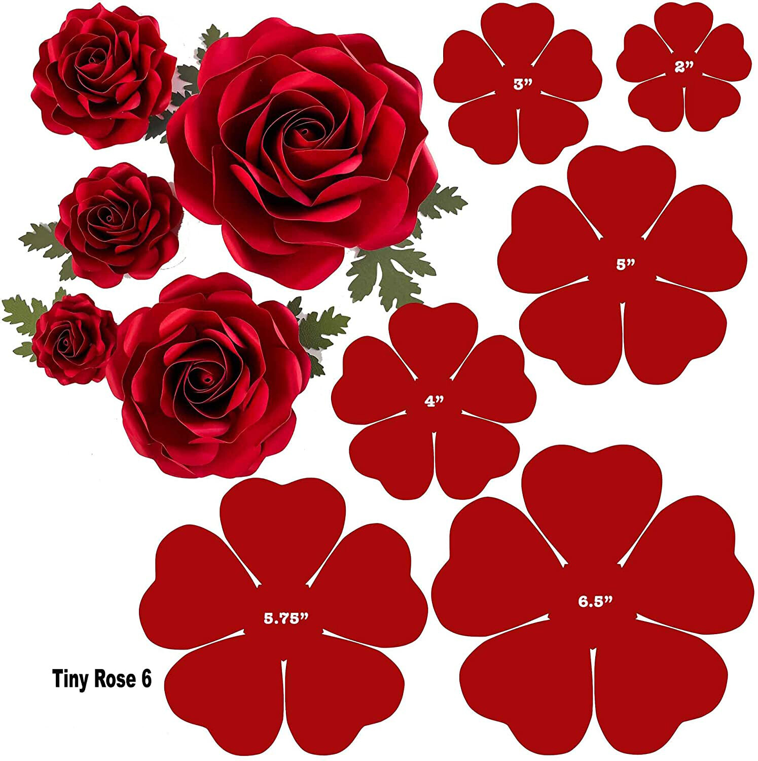 "Digital download file Tiny Rose 6 2""-6"" Baby Roses Paper Flower Templates"