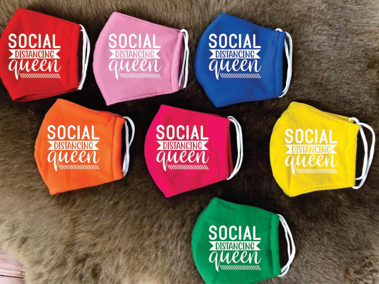"Design Cotton masks "" Social distance Queen """