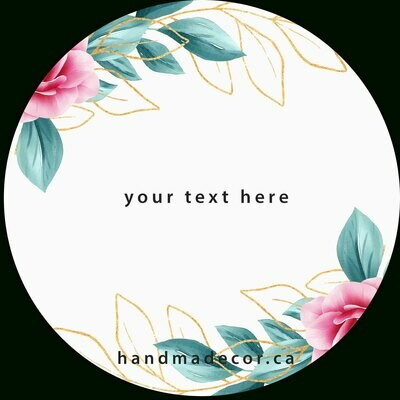 Thank You Stickers, Happy Mail Labels, Packaging Stickers-Floral Frame With Watercolor Flowers Border And Outlined Leaves