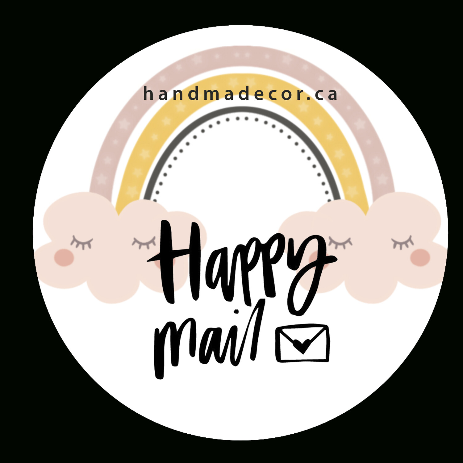 Thank You Stickers, Happy Mail Labels, Packaging Stickers-Cute Cartoon Pink Rainbow Clouds