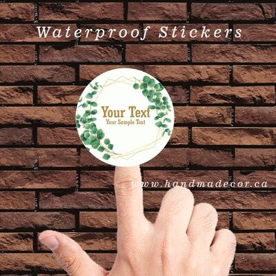 Thank You Stickers, Happy Mail Labels, Packaging Stickers-Eucalyptus Leaf Frame Style