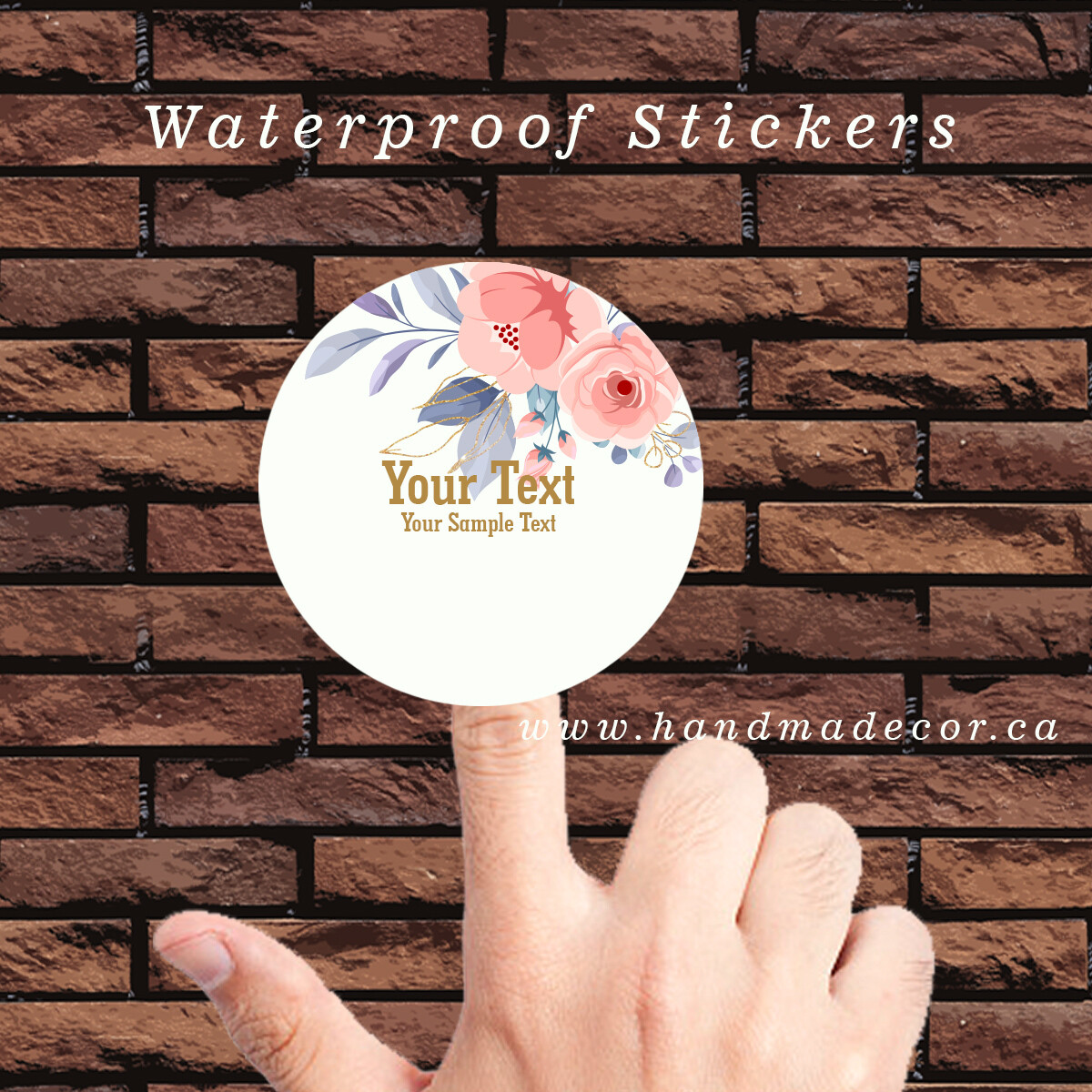 Thank You Stickers, Happy Mail Labels, Packaging Stickers, Favor Stickers - Wedding Favours, Party Favours-Watercolor Flower Element With Blue And Rosegold Color