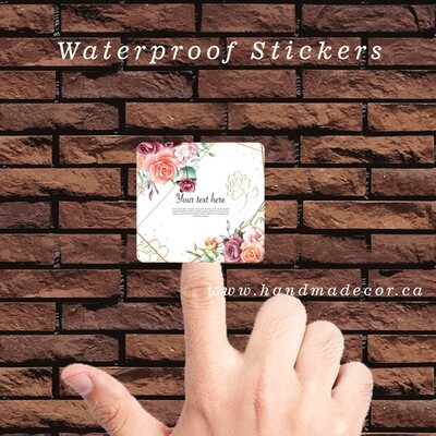 Digital Thank You Stickers, Happy Mail Labels, Packaging Stickers-Watercolor Floral Frame Multi Purpose Background Premium Template
