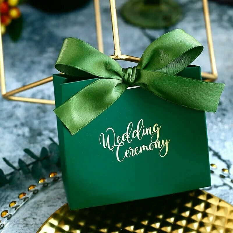 Continental bronzing simple gift bag with ribbon  wedding candy box party decoration party chocolate box gift box