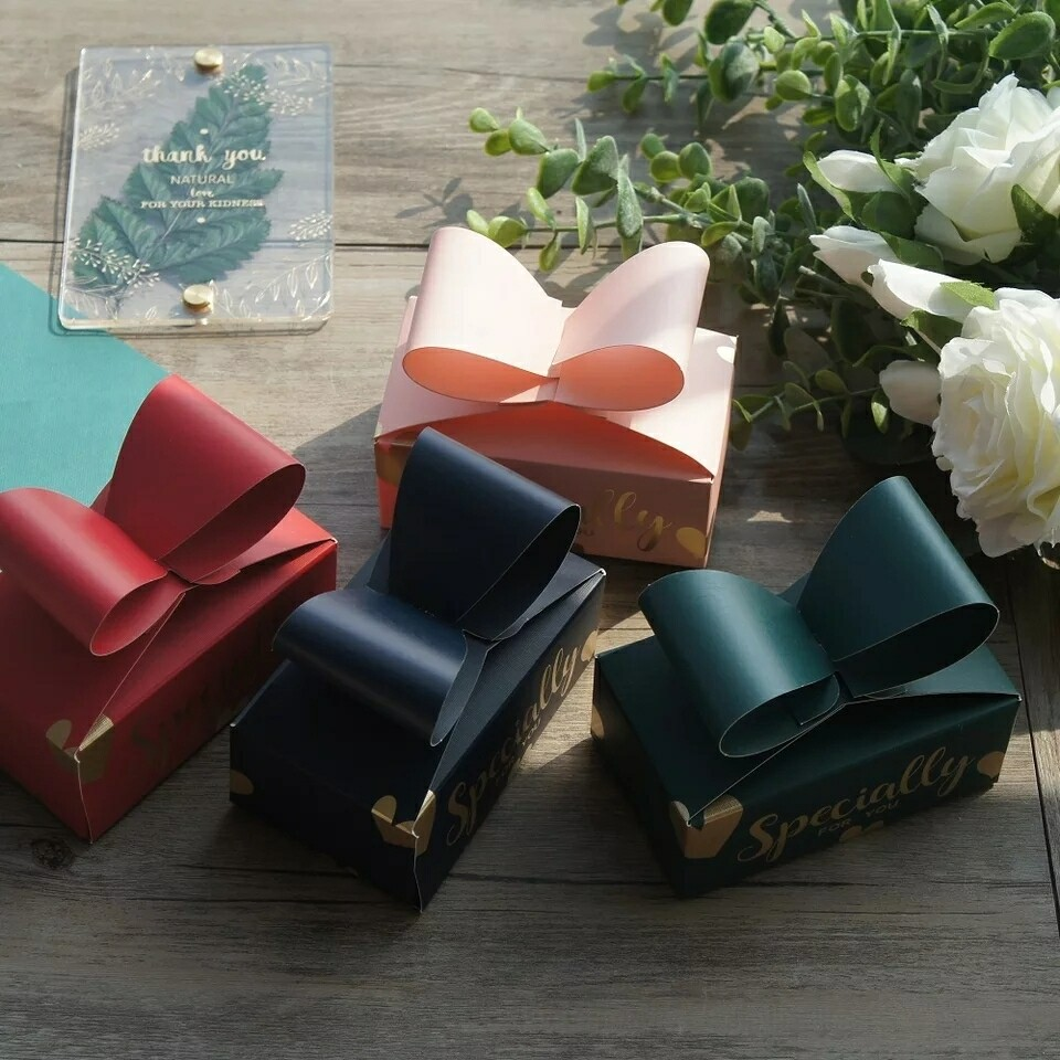 Candy Box Wedding Favors Decoration and Paper Gifts Boxes Baby Shower Birthday Gift Bag Event Party Supplies - Bow Paper Box As Soap Cookie Candy Little Gift Packaging Wedding Favors Gifts