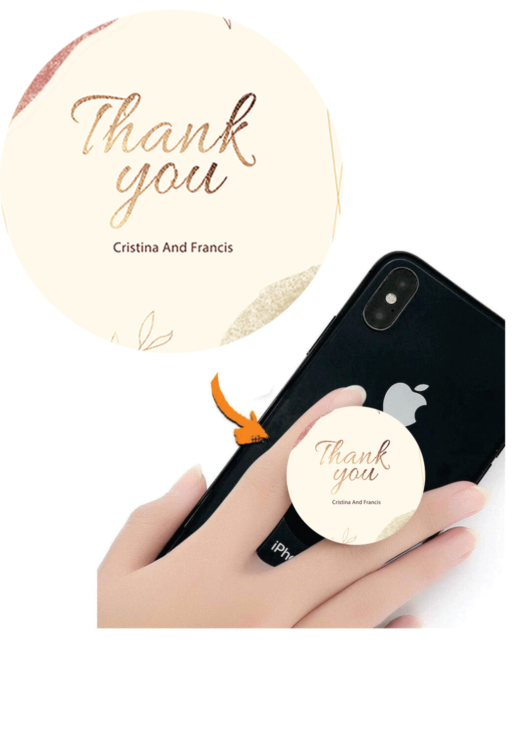 Phone Grips - PopSocket Custom - Personalized PopSocket- customized popsocket - PopSocket custom - wedding gift popsocket=Colorful Minimalist Watercolor Warm Holiday Thank You Card Premium Template