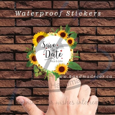 Thank You Stickers, Happy Mail Labels, Packaging Stickers-Circle Vintage Frames With Sunflowers Blossom And Leaves Vector Image