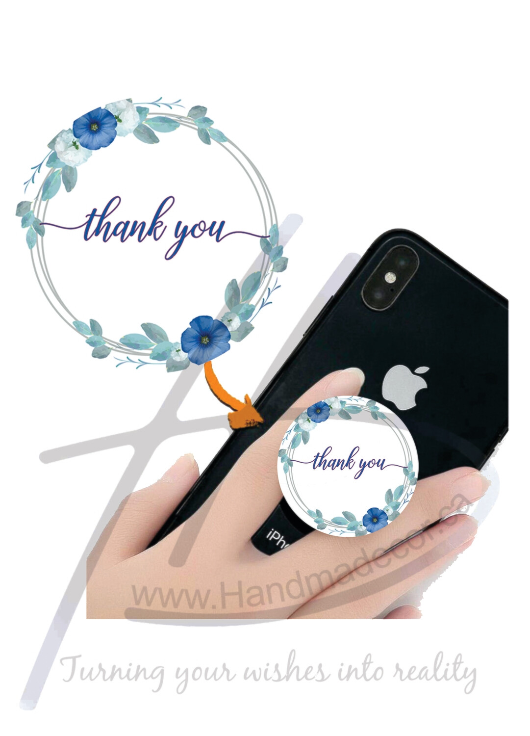 Phone Grips - PopSocket Custom - Personalized PopSocket- customized popsocket - PopSocket custom - wedding gift popsocket-Cirrcle Frames With Elegant Blue Flowers Vector Image