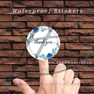 Thank You Stickers, Happy Mail Labels, Packaging Stickers-Circle Frames With Elegant Blue Flowers Vector Image