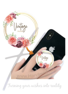Phone Grips - PopSocket Custom - Personalized PopSocket- customized popsocket - PopSocket custom - wedding gift popsocket-Watercolor Floral Frame Multi Purpose Background