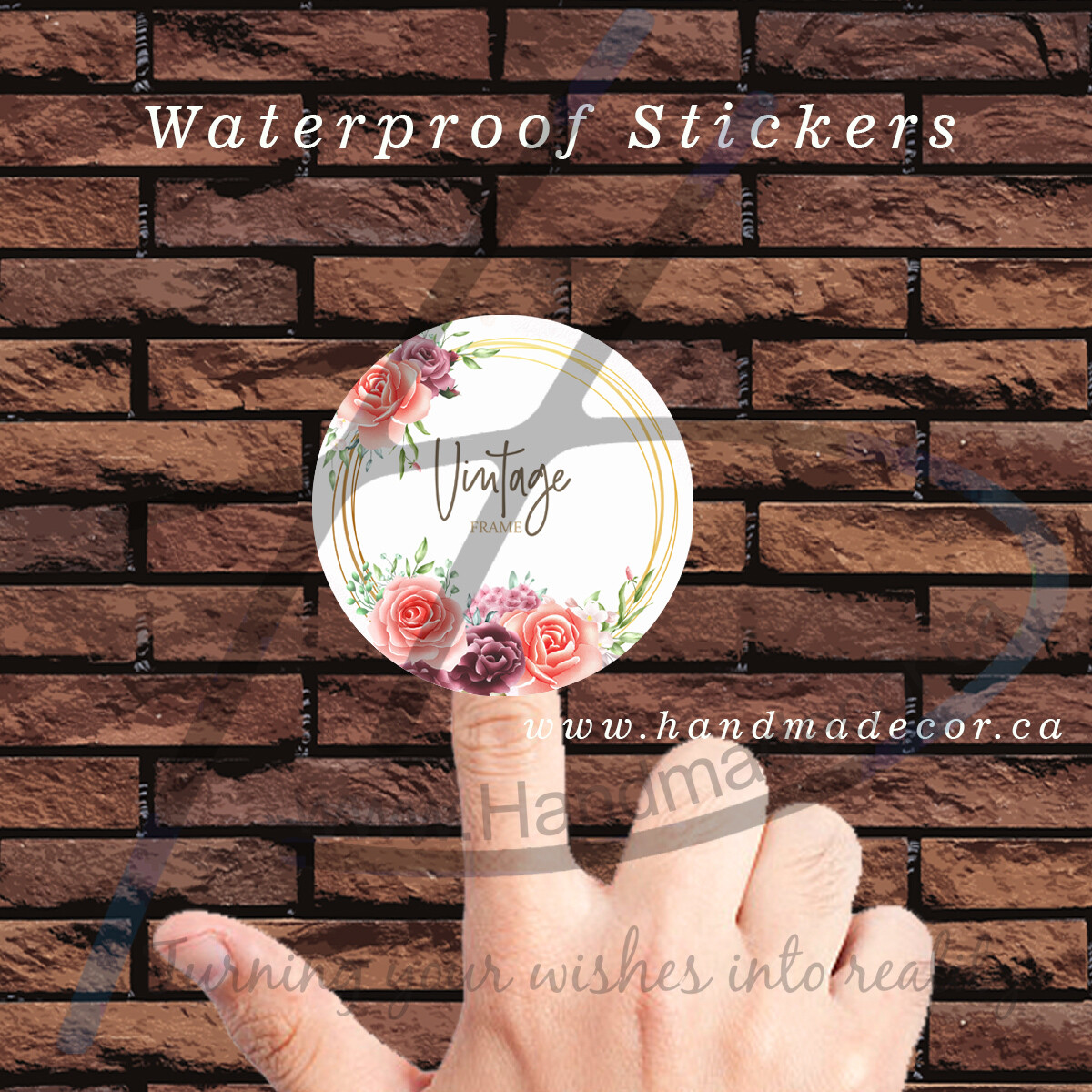 Digital Thank You Stickers, Happy Mail Labels, Packaging Stickers-Watercolor Floral Frame Multi Purpose Background