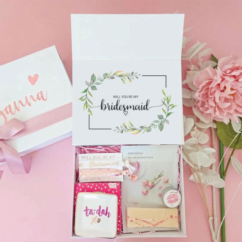 Bridesmaid Box-Bridesmaid Proposal Box Champagne. Bridesmaid Proposal Gift. W8MC. Bridesmaid Box.( Unfilled Box) - leaf frame for wedding invitations