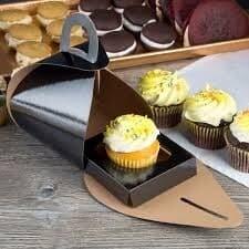 """TULIPSINGLEBLACK 4"""" x 4"""" x 3 3/4"""" Black Single Cupcake Tulip Box with 1 Compartment Insert (100 Boxes + inserts a case)"""
