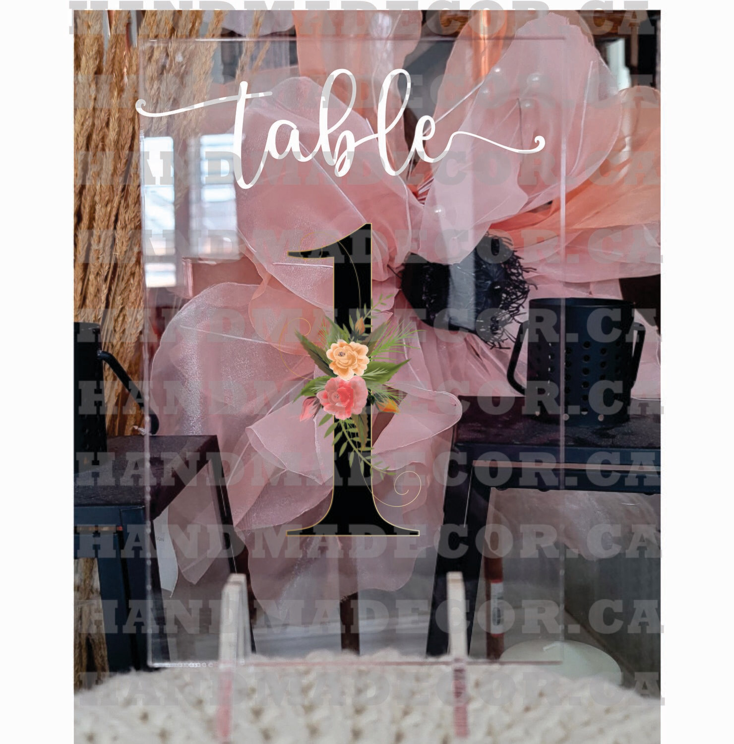 Custom Acrylic Wedding Table Number Signs, Personalized Modern Wedding Table Numbers ,Wedding Table Decorations, Table Sign for Engagement-Number Watercolor Flowers And Leaves Hand Drawn
