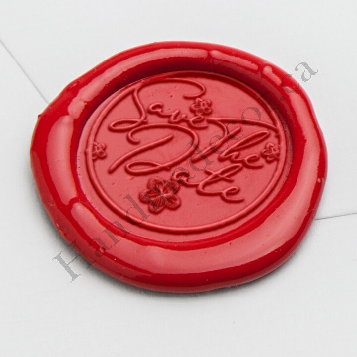 self adhesive Savethedate Wax Seal Stamp - Handmade Wax Seals (Peel n Stick Self-Adhesive Backing)